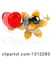 Clipart Of A 3d Happy Sun Character Wearing Sunglasses Holding Up A Finger And A Heart Royalty Free Illustration