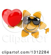 Clipart Of A 3d Happy Sun Character Wearing Sunglasses Holding A Thumb Down And A Heart Royalty Free Illustration