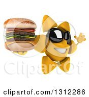 Clipart Of A 3d Happy Sun Character Wearing Sunglasses Facing Right Jumping And Holding A Double Cheeseburger Royalty Free Illustration