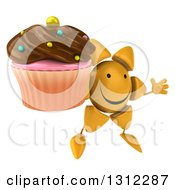 Clipart Of A 3d Happy Sun Character Facing Right Jumping And Holding A Chocolate Frosted Cupcake Royalty Free Illustration
