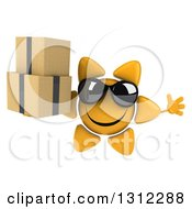Clipart Of A 3d Happy Sun Character Wearing Sunglasses Jumping And Holding Boxes Royalty Free Illustration