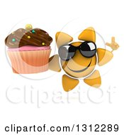 Clipart Of A 3d Happy Sun Character Wearing Sunglasses Holding Up A Finger And A Chocolate Frosted Cupcake Royalty Free Illustration