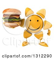 Clipart Of A 3d Happy Sun Character Holding A Double Cheeseburger Royalty Free Illustration