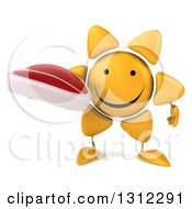 Clipart Of A 3d Happy Sun Character Holding A Beef Steak Royalty Free Illustration
