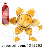 Clipart Of A 3d Happy Sun Character Holding A Thumb Down And A Soda Bottle Royalty Free Illustration
