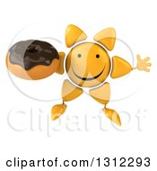 Clipart Of A 3d Happy Sun Character Jumping And Holding A Chocolate Frosted Cupcake Royalty Free Illustration
