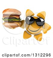 Clipart Of A 3d Happy Sun Character Wearing Sunglasses Holding And Pointing To A Double Cheeseburger Royalty Free Illustration