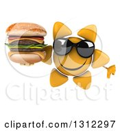 Clipart Of A 3d Happy Sun Character Wearing Sunglasses Giving A Thumb Down And Holding A Double Cheeseburger Royalty Free Illustration