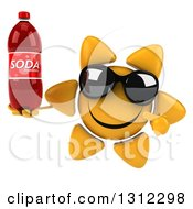 Clipart Of A 3d Happy Sun Character Wearing Sunglasses Holding And Pointing To A Soda Bottle Royalty Free Illustration