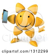 Clipart Of A 3d Happy Sun Character Shrugging And Holding A Smart Cell Phone Royalty Free Illustration