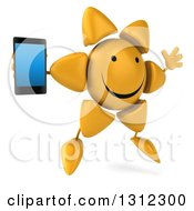 Clipart Of A 3d Happy Sun Character Facing Right Jumping And Holding A Smart Cell Phone Royalty Free Illustration