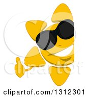 Clipart Of A Cartoon Happy Sun Character Wearing Sunglasses And Giving A Thumb Up Around A Sign Royalty Free Illustration