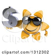 Clipart Of A 3d Happy Sun Character Wearing Sunglasses And Holding A Dollar Symbol Royalty Free Illustration