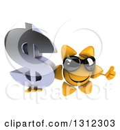 Clipart Of A 3d Happy Sun Character Wearing Sunglasses Holding Up A Thumb And A Dollar Symbol Royalty Free Illustration