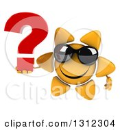 Clipart Of A 3d Happy Sun Character Wearing Sunglasses And Holding A Question Mark Royalty Free Illustration