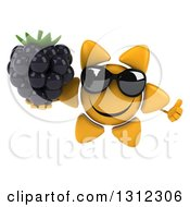 Clipart Of A 3d Happy Sun Character Wearing Sunglasses Giving A Thumb Up And Holding A Blackberry Royalty Free Illustration