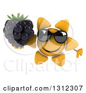 Clipart Of A 3d Happy Sun Character Wearing Sunglasses Giving A Thumb Down And Holding A Blackberry Royalty Free Illustration