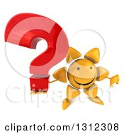 Clipart Of A 3d Happy Sun Character Holding Up A Thumb Down And A Question Mark Royalty Free Illustration