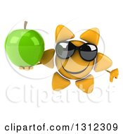 Clipart Of A 3d Happy Sun Character Wearing Sunglasses Giving A Thumb Down And Holding A Green Apple Royalty Free Illustration