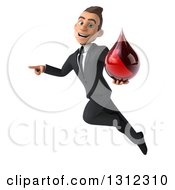 Clipart Of A 3d Happy Young White Businessman Flying Pointing And Holding A Blood Drop Royalty Free Illustration