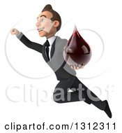 Clipart Of A 3d Happy Young White Businessman Flying Up To The Left And Holding A Blood Drop Royalty Free Illustration