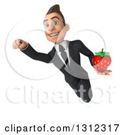 Clipart Of A 3d Happy Young White Businessman Flying And Holding A Strawberry Royalty Free Illustration