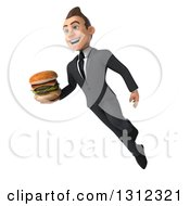 Clipart Of A 3d Happy Young White Businessman Flying And Holding A Double Cheeseburger Royalty Free Illustration