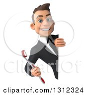 Clipart Of A 3d Happy Young Brunette White Businessman Or Dentist In A Suit Holding A Toothbrush Around A Sign Royalty Free Illustration