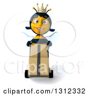 Clipart Of A 3d Happy Queen Bee Moving Boxes On A Dolly Royalty Free Illustration