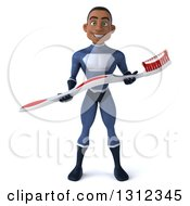 Clipart Of A 3d Young Black Male Super Hero Dark Blue Suit Holding A Giant Toothbrush Royalty Free Illustration