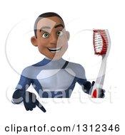 Clipart Of A 3d Young Black Male Super Hero Dark Blue Suit Holding A Giant Toothbrush And Pointing Down Over A Sign Royalty Free Illustration