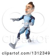 Clipart Of A 3d Young Brunette White Male Super Hero In A Dark Blue Suit Walking And Pointing To The Left Royalty Free Illustration