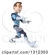 Clipart Of A 3d Young Brunette White Male Super Hero In A Dark Blue Suit Walking And Pointing To The Right Royalty Free Illustration