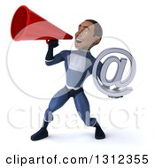 Clipart Of A 3d Young Black Male Super Hero Dark Blue Suit Holding An Email Arobase And Announcing With A Megaphone Royalty Free Illustration