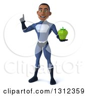 Clipart Of A 3d Young Black Male Super Hero Dark Blue Suit Holding Up A Finger And A Green Bell Pepper Royalty Free Illustration