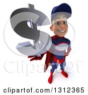 Clipart Of A 3d Young White Male Super Hero Mechanic In Red And Dark Blue Holding Up A Dollar Symbol Royalty Free Illustration