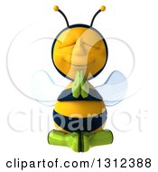 Clipart Of A 3d Relaxed Gardener Bee Meditating Royalty Free Illustration