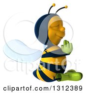 Clipart Of A 3d Relaxed Gardener Bee Facing Right And Meditating Royalty Free Illustration