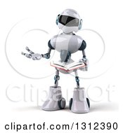Clipart Of A 3d White And Blue Robot Presenting And Reading A Book Royalty Free Illustration