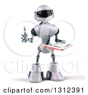 Clipart Of A 3d White And Blue Robot Giving A Thumb Up And Reading A Book Royalty Free Illustration