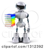 Clipart Of A 3d White And Blue Robot Hoding A Stack Of Books Royalty Free Illustration