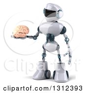 Clipart Of A 3d White And Blue Robot Holding A Human Brain Royalty Free Illustration