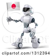 Clipart Of A 3d White And Blue Robot Walking To The Left And Holding A Japanese Flag Royalty Free Illustration