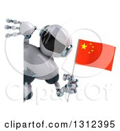 Clipart Of A 3d White And Blue Robot Holding A Chinese Flag And Looking Around A Sign Royalty Free Illustration