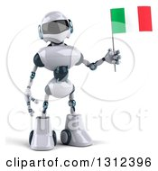 Clipart Of A 3d White And Blue Robot Holding An Italian Flag Royalty Free Illustration