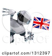 Clipart Of A 3d White And Blue Robot Holding A British Flag And Looking Around A Sign Royalty Free Illustration