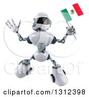 Clipart Of A 3d White And Blue Robot Jumping And Holding A Mexican Flag Royalty Free Illustration