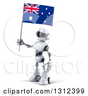 Clipart Of A 3d White And Blue Robot Facing Left And Holding An Australian Flag Royalty Free Illustration