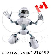 Clipart Of A 3d White And Blue Robot Jumping And Holding A Canadian Flag Royalty Free Illustration
