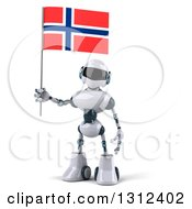 Clipart Of A 3d White And Blue Robot Holding A Norway Flag Royalty Free Illustration